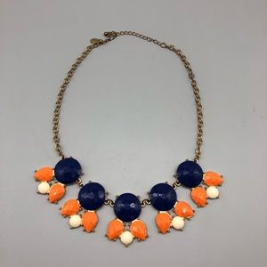 C. Wonder blue orange and white Statement necklace